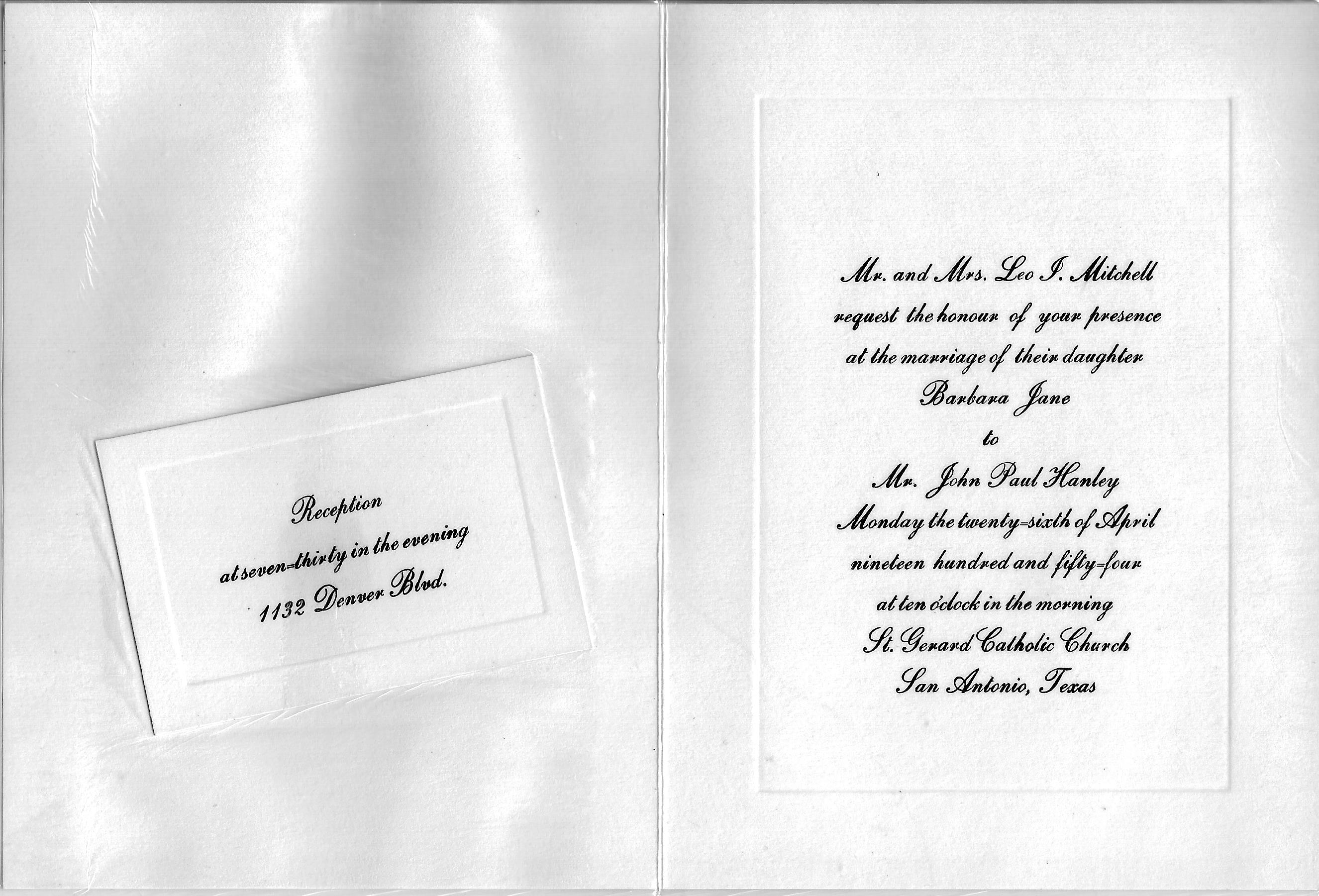 wedding invitation from 1954